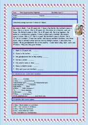 English Worksheets: CONSOLIDATION VERB TO BE, POSSESSIVE ADJECTIVES, QUESTION WORDS AND FAMILY