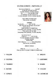 English Worksheet: Selena Gomez Naturally
