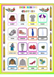 English Worksheet: ADJECTIVES TO DESCRIBE CLOTHES PICTIONARY