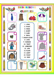 ... worksheets > Clothes > ADJECTIVES TO DESCRIBE CLOTHES MATCHING