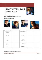 English Worksheets: Fantastic four movie worksheet 1