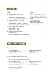 English Worksheet: Adverbs Grammar Chart