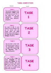 English Worksheets: Tasks Competition