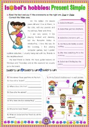 English Worksheet: Isobel�s hobbies (Simple Present)  -  Reading Comprehension leading to Writing