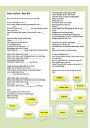 English worksheet: SONG: RICH GIRL  -  BY  GWEN STEFANI