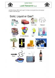 English Worksheets: Solid Liquid or Gas