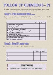 English Worksheets: Follow Up Questions