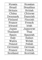 nationalities - matching game