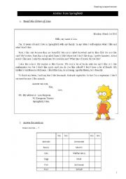 English Worksheets: A letter from Springfield