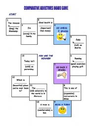 English Worksheet: Comparative adjectives board game(30.01.2010)