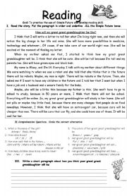 English Worksheet: Reading- Simple Future
