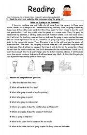 English Worksheet: Simple Future- Be going to