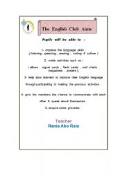 English Worksheets: The English club aims worksheet