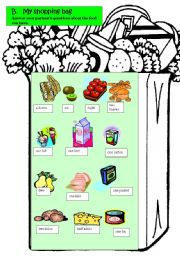English Worksheet: Shopping bag - uncountable and countable food, quantities, fully editable