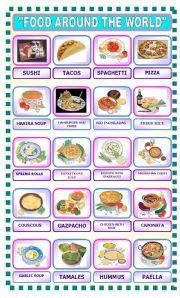 Advanced ESL worksheets: international food!