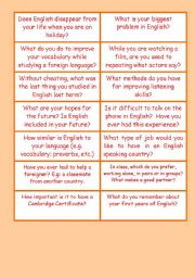 English Worksheets: PET / FCE Conversation For The first Day