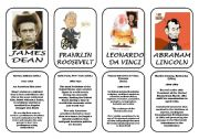 English Worksheet: Famous people speaking cards (was,were) part 5