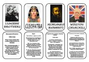 English Worksheet: Famous people speaking cards (was,were) part 6