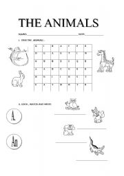 English Worksheets: learning the animals