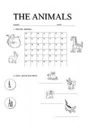 English worksheet: learning the animals