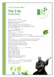 The 3 R S Song By Jack Johnson Esl Worksheet By Blita
