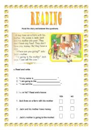English Worksheets: Jack and the magic beans part I