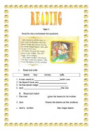 English Worksheets: Jack and the magic beans part II