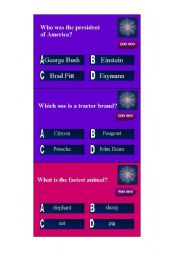 English Worksheet: Quiz game: Who wants to be a millionaire? III