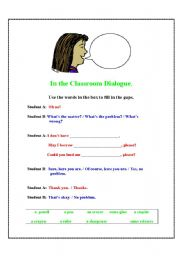 English worksheet: In the Classroom Dialogue