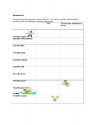 English Worksheets: Favourites