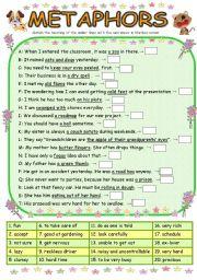 English Worksheet: 20 Metaphor Questions
