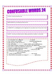 English Worksheet: CONFUSABLE WORDS 24: GOODS, MERCHANDISE, COMMODITY, WARES- CURE, REMEDY,HEAL TREAT