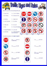 English Worksheet: Traffic Signs and Rules-Must and Mustn´t