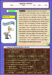 English Worksheets: centenarian-A comprehension passage