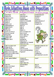 English Worksheet: Verbs,Adjectives,Nouns with Prepositions(Part 4 S-W)