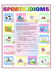 english worksheet sports idioms. Black Bedroom Furniture Sets. Home Design Ideas