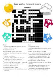 English Worksheet: Crossword for weather basic term and seasons