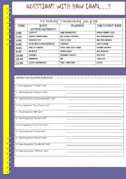 English Worksheet: QUESTIONS WITH HOW LONG?