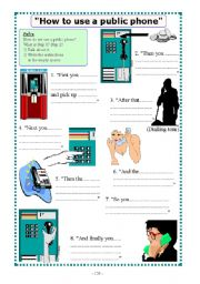 English Worksheets: How to use a public phone
