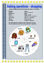 English Worksheets: Question words with shopping and clothes vocabulary - fully editable