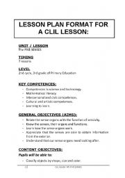 English Worksheet: CLIL Lesson Plan for Primary - Science - 5 Senses