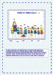 English Worksheet: FIND 12  DIFFERENCES