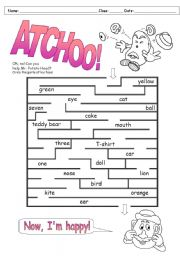 English Worksheet: Mr. Potato Head�s sneeze (topic - my face)