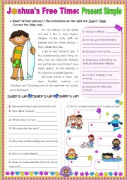 English Worksheet: Joshua�s Free Time (Present Simple)  -  Reading Comprehension leading to Writing