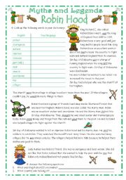 English Worksheets: ROBIN HOOD - Myths & Legends series #1