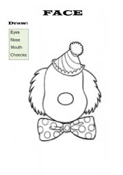 English Worksheets: The Clown�s Face