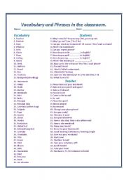 Vocabulary and Phrases in the classroom