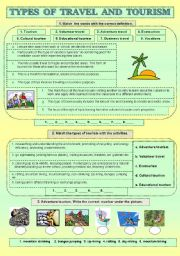 English worksheet: Types of travel and tourism
