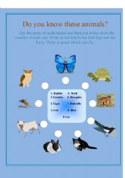 English worksheet: Do you know these animals?