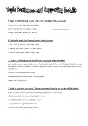 Topic sentences and supporting details (part 2) 7 pages - ESL ...